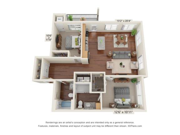 Floor Plan  Heritage At Church Ranch_2 Bedroom I