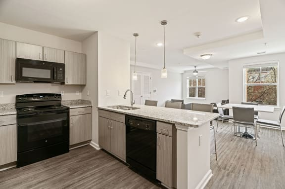 Built-In Microwave and Dishwasher in Modern Kitchen  at Rivers Walk, Boone