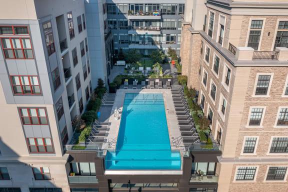The Nicholas aerial view of pool