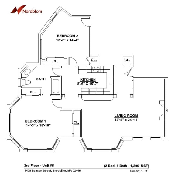 Floor Plan  2 bed 1 bathroom floor plan at marion square apartments