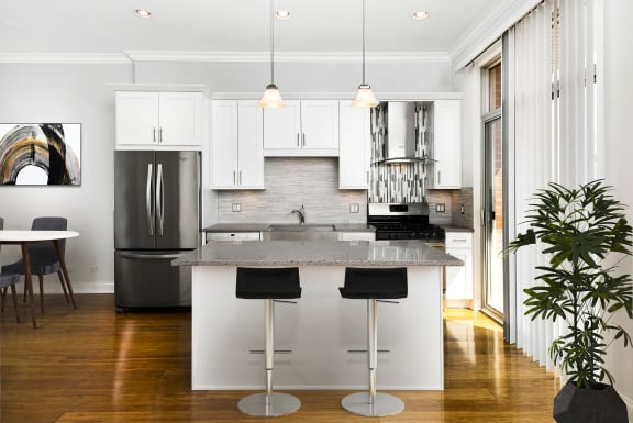 Upgraded kitchens at Reside on Jackson apartments in the West Loop
