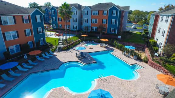Resort Style Pool Aerial View