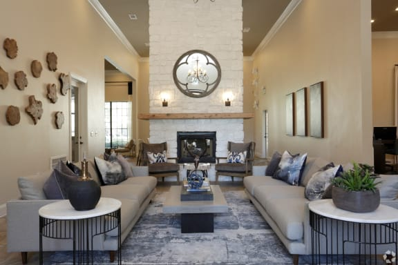 Spacious clubhouse lobby with seating at The Columns at Westchase, Houston, TX 77042