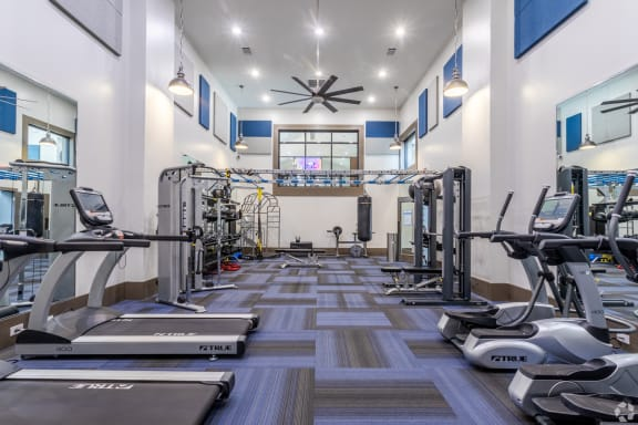 State-of-the-art fitness center with cardio machines, strength training and free weights, The Columns at Vinings, 1900 Tamarron Parkway SE, Atlanta, Georgia 30339