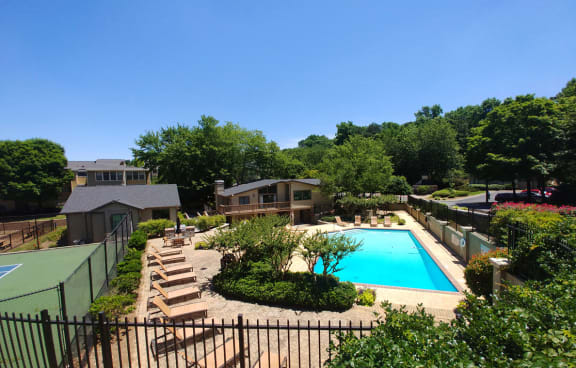 Gorgeous aerial pool and clubhouse view at Chatsworth Apartments, 4700 N Hill Pkwy, Atlanta, GA 30341