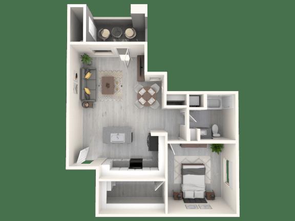 Floor Plan  Apache 745 SqFt Floor Plan at The Premiere at Eastmark  Apartments, P.B. BELL, Mesa, AZ, 85212