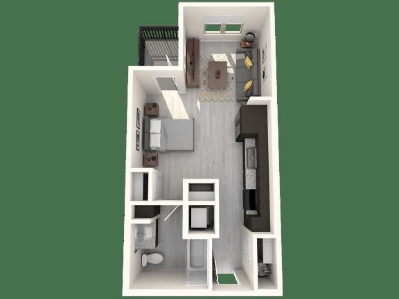 Floor Plan  Havasu Studio Floor Plan Studio 459 SqFt Floor Plan at The Premiere at Eastmark  Apartments, P.B. BELL, Mesa, Arizona