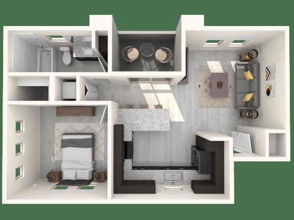 Floor Plan  Hardy One Bedroom Floor Plan A1 592 SqFt Floor Plan at The Premiere at Eastmark  Apartments, P.B. BELL, Mesa, AZ