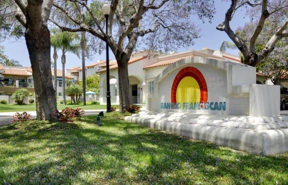 Courtyard with Green Space, at Rancho Franciscan Senior Apartments, Santa Barbara California