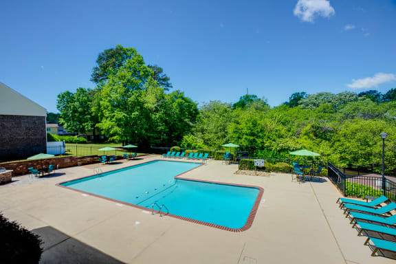 Pool and sundeck at Lakecrest Apartments in Greenville SC