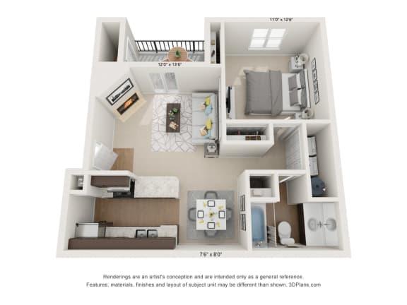 Floor Plan  Dogwood 1Bed_1Bath at River Oak Apartments, Louisville, KY, 40206