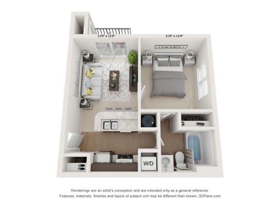 Floor Plan  Magnolia 1Bed_1Bath at River Oak Apartments, Louisville, Kentucky