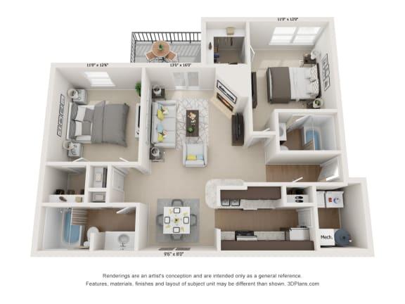Floor Plan  Oak 2Bed_2Bath at River Oak Apartments, Kentucky, 40206