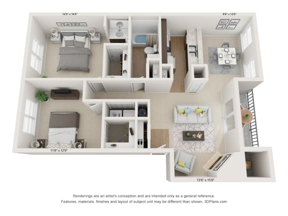 Floor Plan  Willow 2Bed_1Bath at River Oak Apartments, Kentucky