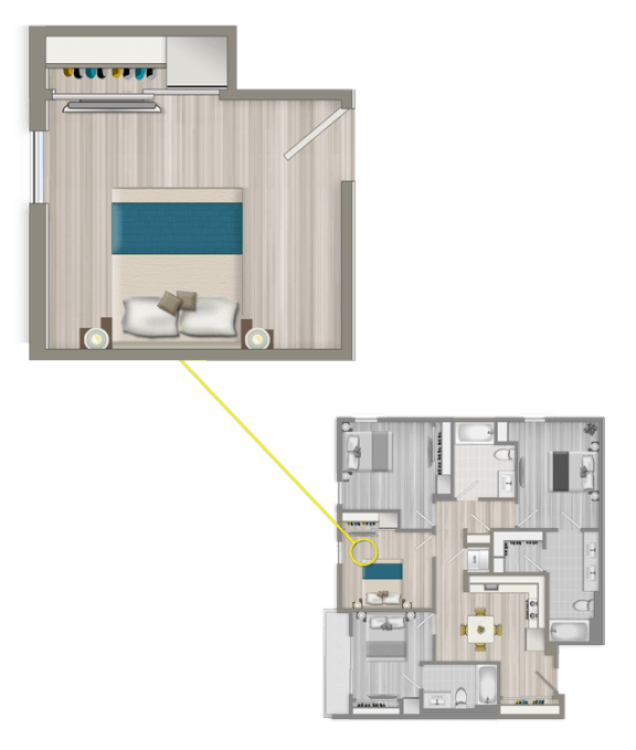Floor Plan  Furnished Co-Living Studio Suite 882B