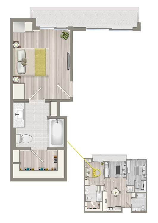 Floor Plan  Ascent Furnished Co-Living Primary Suite B1