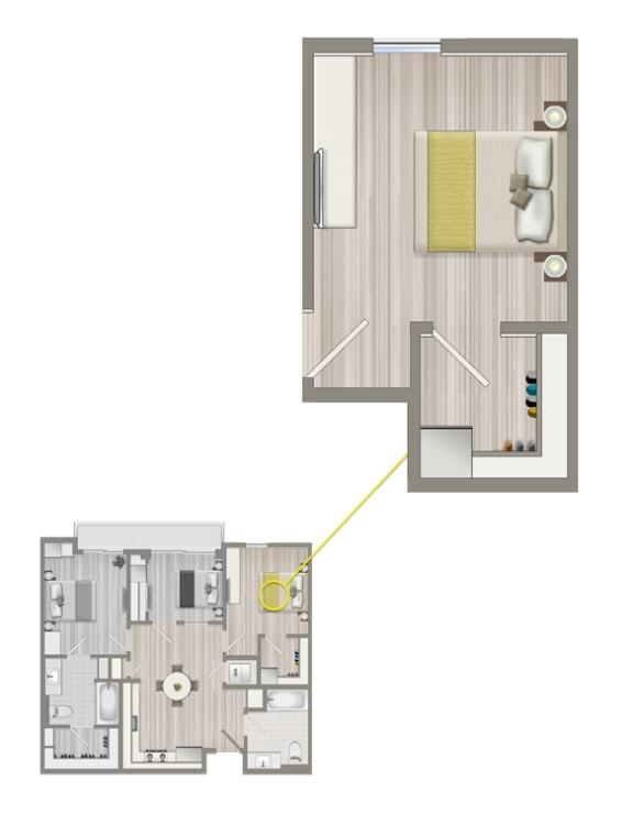 Floor Plan  Ascent Furnished Co-living  Studio Suite B1