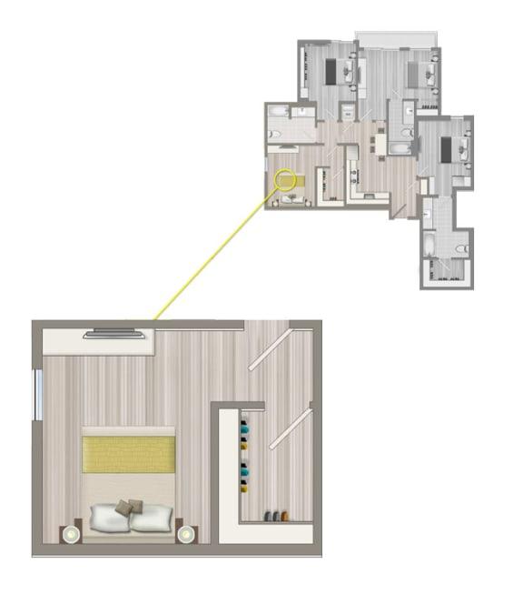 Floor Plan  Ascent Furnished Co-Living Studio Suite C1A