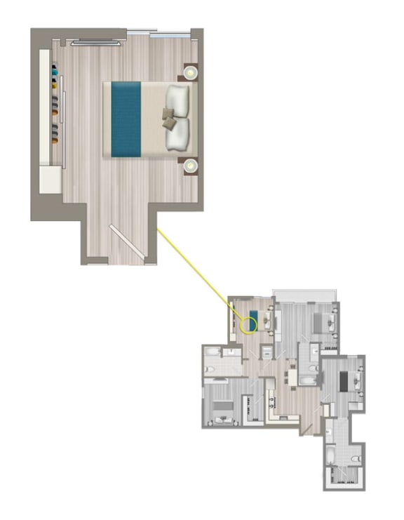 Floor Plan  Ascent Furnished Co-Living Studio Suite C1B