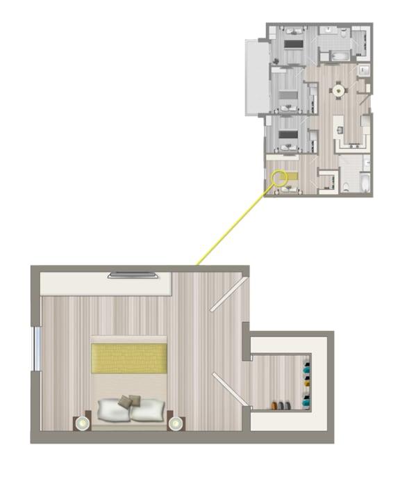 Floor Plan  Ascent Furnished Co-Living Studio Suite C2A