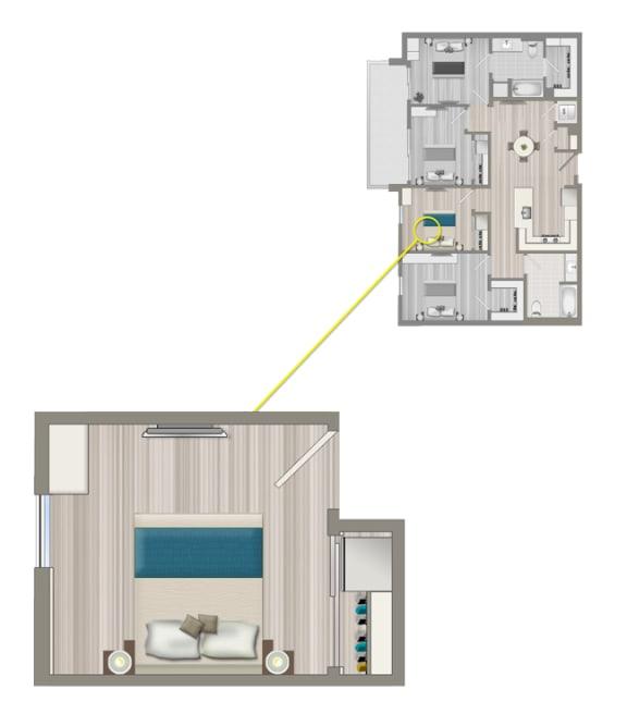 Floor Plan  Ascent Furnished Co-Living Studio Suite C2B