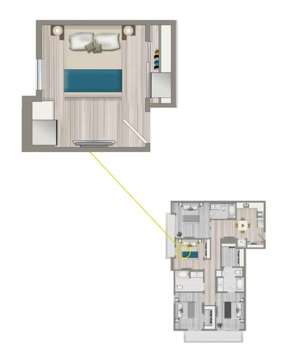 Floor Plan  Ascent Furnished Co-Living Studio Suite C4C
