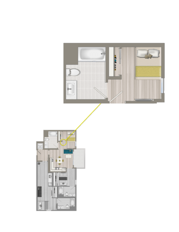 Floor Plan  Furnished Co-Living Primary Suite EC2A
