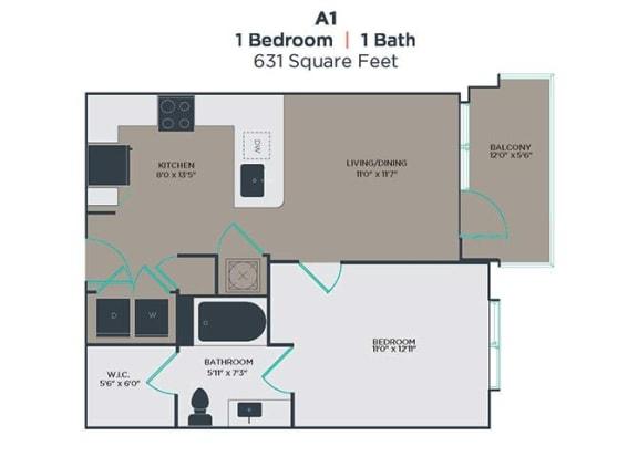A1 1 Bed 1 Bath Floor Plan at Link Apartments® Innovation Quarter, Winston Salem, NC