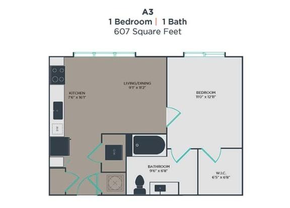 A3 1 Bed 1 Bath Floor Plan at Link Apartments® Innovation Quarter, North Carolina