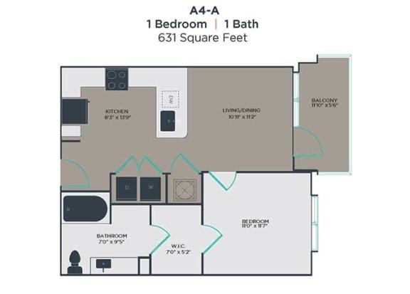 A4-A 1 Bed 1 Bath Floor Plan at Link Apartments® Innovation Quarter, Winston Salem, North Carolina