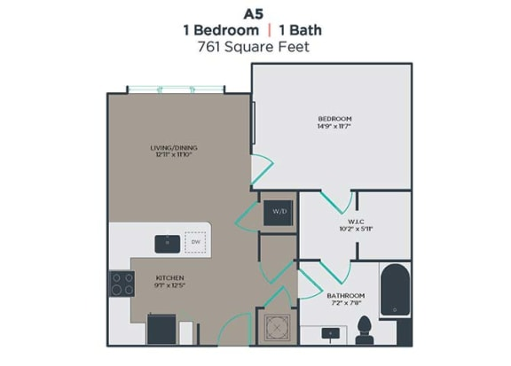 A5 1 Bed 1 Bath Floor Plan at Link Apartments® Innovation Quarter, Winston Salem, NC, 27101