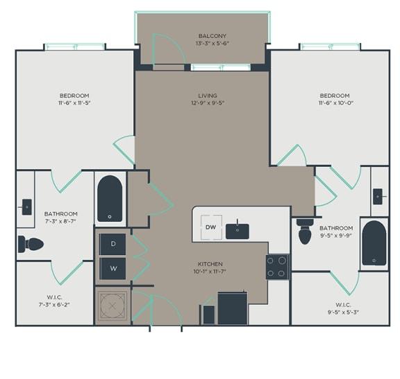 2 Bedroom 2 Bathroom Floor Plan at Link Apartments® Innovation Quarter, North Carolina