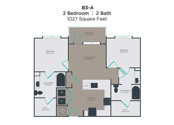 B3-A 2 Bed 2 Bath Floor Plan at Link Apartments® Innovation Quarter, Winston Salem, NC, 27101