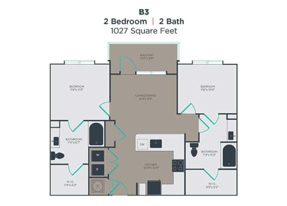 2 bedroom 2 bath Floor Plan at Link Apartments® Innovation Quarter, North Carolina, 27101