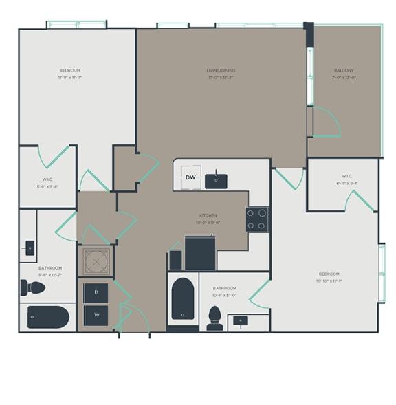 B4 2 Bed 2 Bath Floor Plan at Link Apartments® Innovation Quarter, Winston Salem, NC