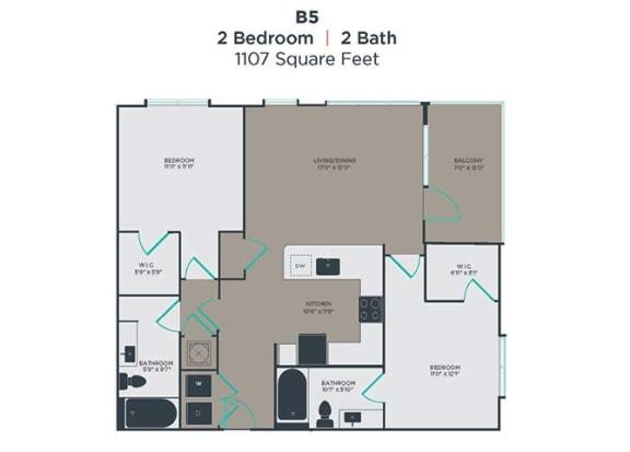 B5 2 Bed 2 Bath Floor Plan at Link Apartments® Innovation Quarter, Winston Salem, 27101