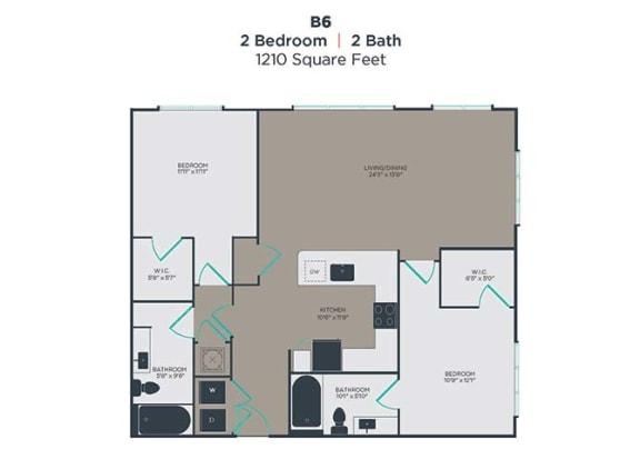 B6 2 Bed 2 Bath Floor Plan at Link Apartments® Innovation Quarter, Winston Salem, North Carolina