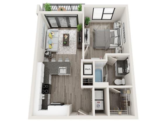Floor Plan  A1 Floor Plan at Link Apartments® Innovation Quarter, Winston Salem, 27101