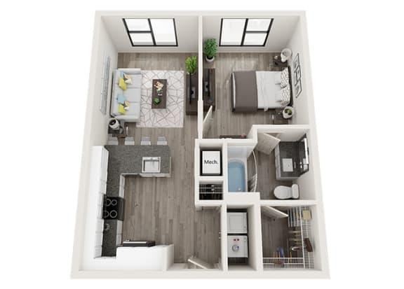 Floor Plan  A2 Floor Plan at Link Apartments® Innovation Quarter, Winston Salem, North Carolina