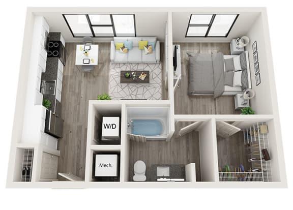 Floor Plan  A3 Floor Plan at Link Apartments® Innovation Quarter, Winston Salem
