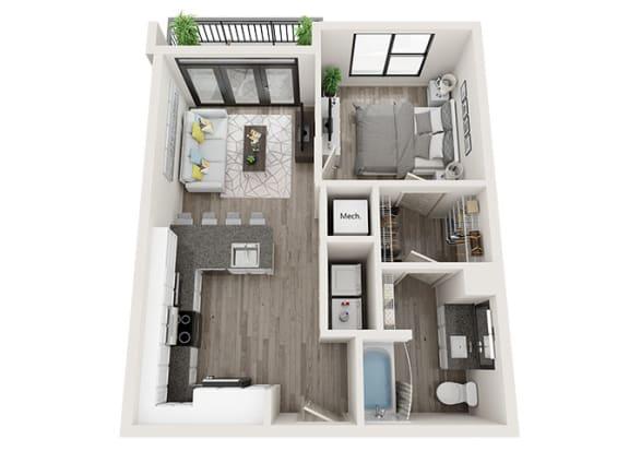 Floor Plan  A4-A Floor Plan at Link Apartments® Innovation Quarter, North Carolina