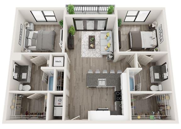 Floor Plan  B1 Floor Plan at Link Apartments® Innovation Quarter, Winston Salem, NC, 27101