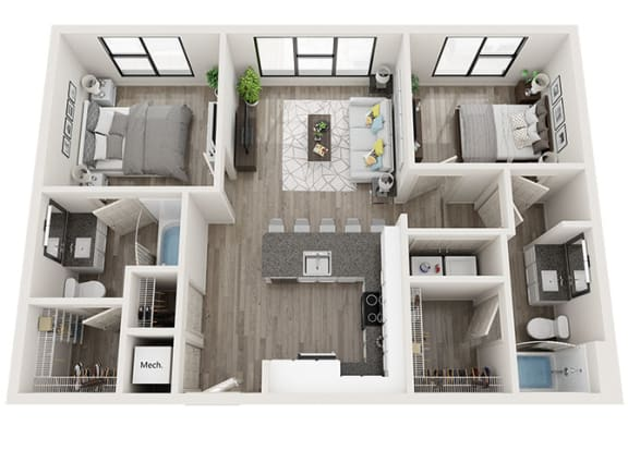 Floor Plan  B2 Floor Plan at Link Apartments® Innovation Quarter, Winston Salem, NC