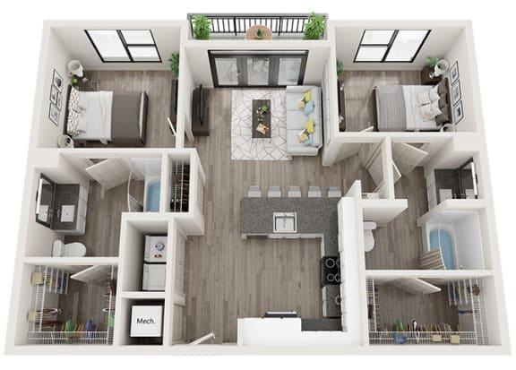 Floor Plan  B3 Floor Plan at Link Apartments® Innovation Quarter, Winston Salem, 27101