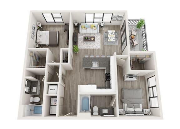 Floor Plan  B4 Floor Plan at Link Apartments® Innovation Quarter, Winston Salem, North Carolina