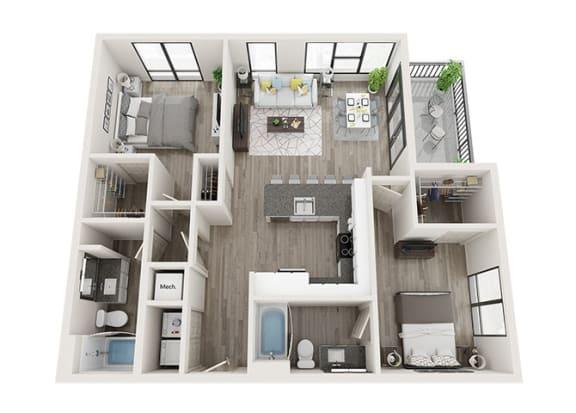 Floor Plan  B5 Floor Plan at Link Apartments® Innovation Quarter, Winston Salem