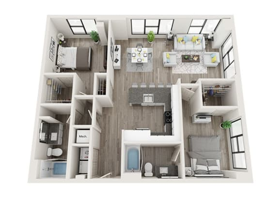 Floor Plan  B6 Floor Plan at Link Apartments® Innovation Quarter, North Carolina