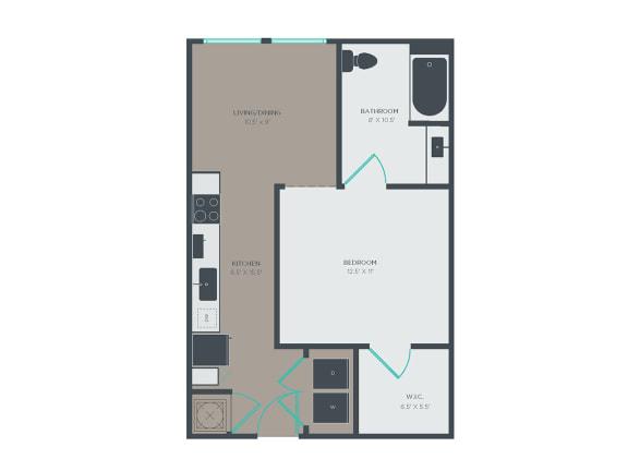 A1-A 1 Bed 1 Bath Floor Plan at Link Apartments® Grant Park, Atlanta, 30312