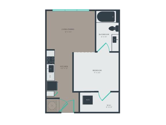 Floor Plan  A1 1 Bed 1 Bath Floor Plan at Link Apartments® Grant Park, Atlanta, GA