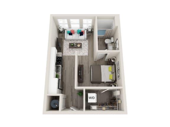 A1 1 Bed 1 Bath Floor 494 Sqft Plan at Link Apartments® Grant Park, Atlanta, 30312